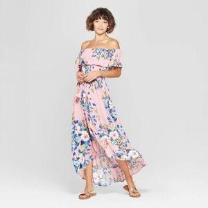 Floral High Low Off Shoulder Dress